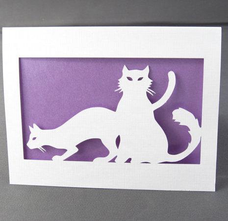 Purple Cat Silhouette