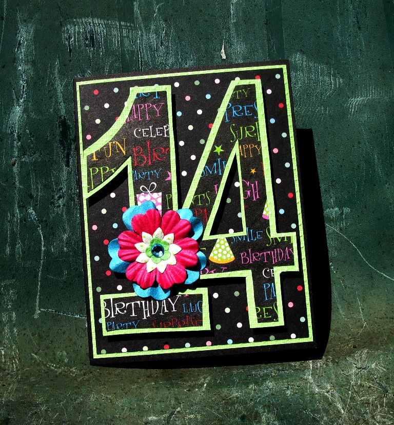 14 Teen Girl Birthday Card - 14th Birthday Bright Colors