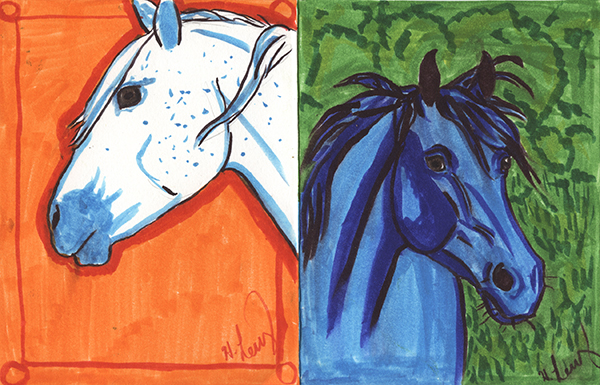 Blue and Green Horse Card