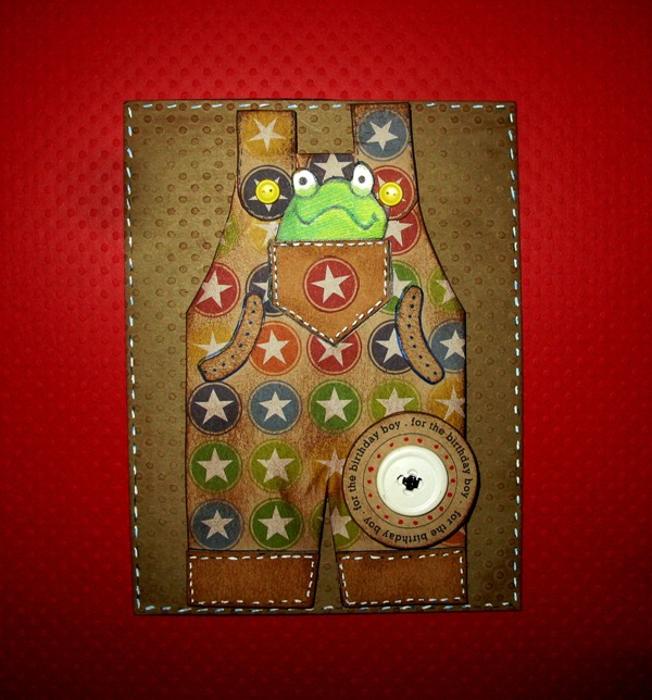 Birthday Boy Overalls with Frog Birthday Card
