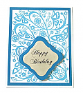 Blue Embossed Happy Birthday