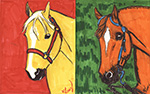 Yellow and Orange Horse Card